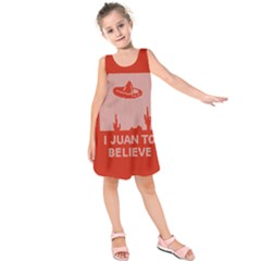 I Juan To Believe Ugly Holiday Christmas Red Background Kids  Sleeveless Dress