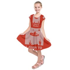 I Juan To Believe Ugly Holiday Christmas Red Background Kids  Short Sleeve Dress
