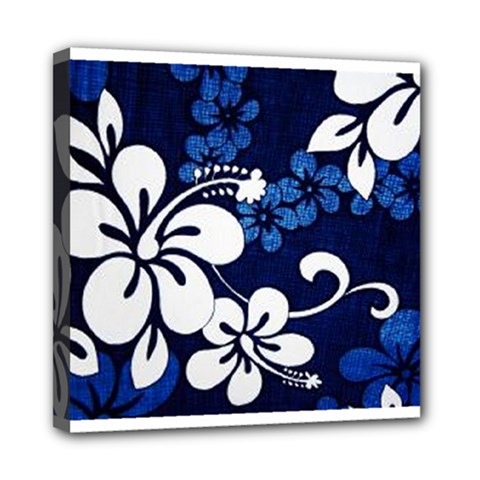 Blue Hibiscus Mini Canvas 8  x 8