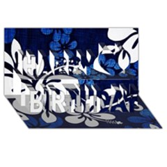 Blue Hibiscus Happy Birthday 3D Greeting Card (8x4)