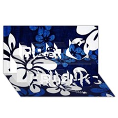 Blue Hibiscus Best Friends 3D Greeting Card (8x4)