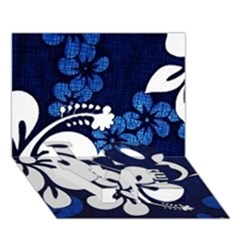 Blue Hibiscus LOVE Bottom 3D Greeting Card (7x5)