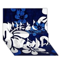 Blue Hibiscus Miss You 3D Greeting Card (7x5)