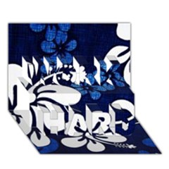 Blue Hibiscus WORK HARD 3D Greeting Card (7x5)