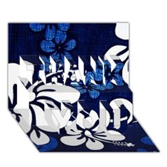 Blue Hibiscus THANK YOU 3D Greeting Card (7x5)