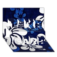 Blue Hibiscus TAKE CARE 3D Greeting Card (7x5)