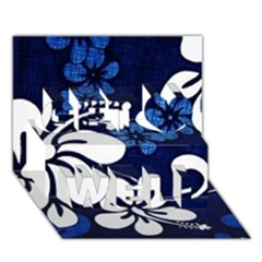 Blue Hibiscus Get Well 3D Greeting Card (7x5)