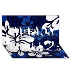Blue Hibiscus Merry Xmas 3D Greeting Card (8x4)