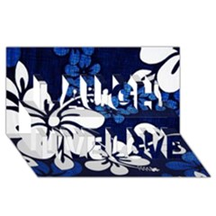 Blue Hibiscus Laugh Live Love 3D Greeting Card (8x4)