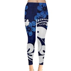 Blue Hibiscus Leggings