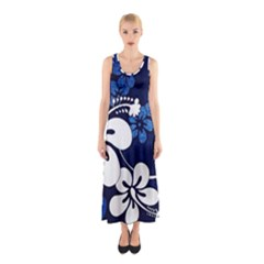 Blue Hibiscus Sleeveless Maxi Dress