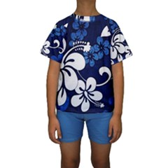 Blue Hibiscus Kids  Short Sleeve Swimwear