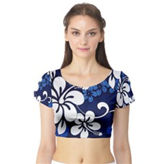 Blue Hibiscus Short Sleeve Crop Top (Tight Fit)