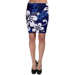 Blue Hibiscus Bodycon Skirt