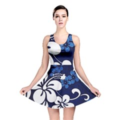 Blue Hibiscus Reversible Skater Dress