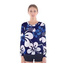 Blue Hibiscus Women s Long Sleeve Tee