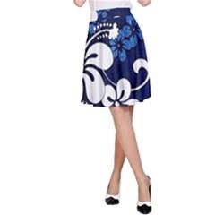 Blue Hibiscus A-Line Skirt