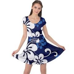 Blue Hibiscus Cap Sleeve Dresses