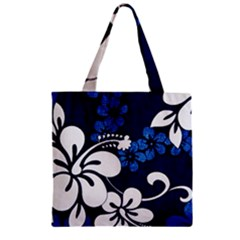 Blue Hibiscus Zipper Grocery Tote Bag
