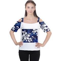 Blue Hibiscus Women s Cutout Shoulder Tee