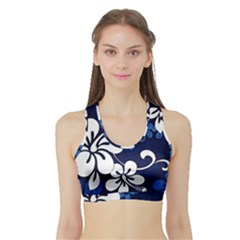Blue Hibiscus Sports Bra with Border