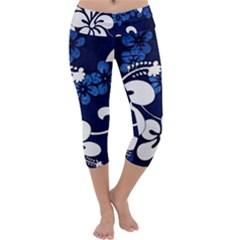 Blue Hibiscus Capri Yoga Leggings
