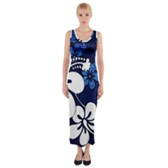 Blue Hibiscus Fitted Maxi Dress