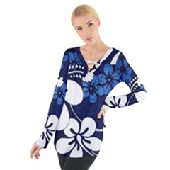 Blue Hibiscus Women s Tie Up Tee
