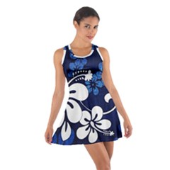 Blue Hibiscus Cotton Racerback Dress