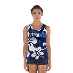 Blue Hibiscus Women s Sport Tank Top