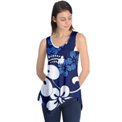 Blue Hibiscus Sleeveless Tunic