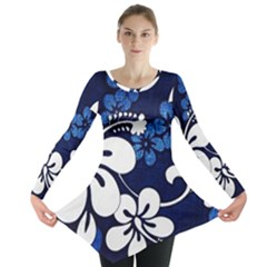 Blue Hibiscus Long Sleeve Tunic