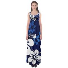 Blue Hibiscus Empire Waist Maxi Dress