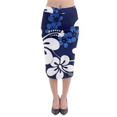 Blue Hibiscus Midi Pencil Skirt