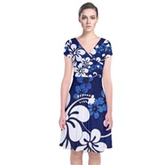 Blue Hibiscus Short Sleeve Front Wrap Dress