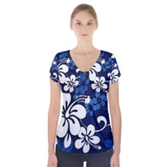 Blue Hibiscus Short Sleeve Front Detail Top