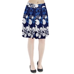 Blue Hibiscus Pleated Skirt