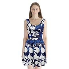 Blue Hibiscus Split Back Mini Dress