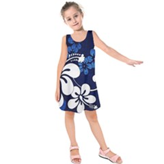 Blue Hibiscus Kids  Sleeveless Dress