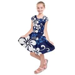 Blue Hibiscus Kids  Short Sleeve Dress