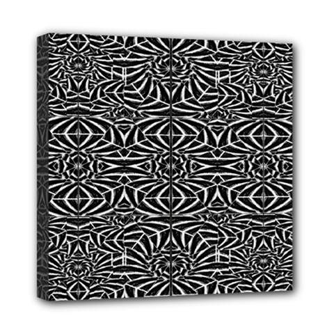 Black and White Tribal Pattern Mini Canvas 8  x 8