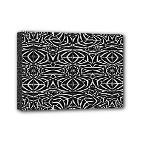 Black and White Tribal Pattern Mini Canvas 7  x 5