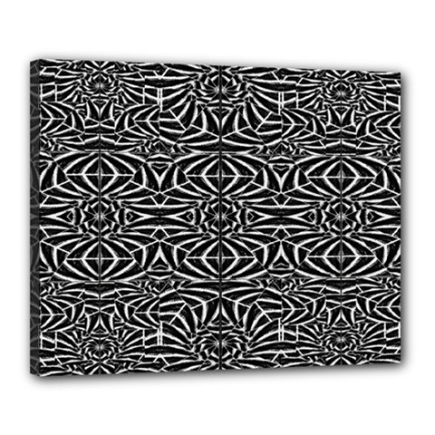Black and White Tribal Pattern Canvas 20  x 16