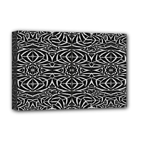 Black and White Tribal Pattern Deluxe Canvas 18  x 12