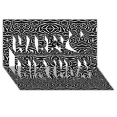 Black and White Tribal Pattern Happy Birthday 3D Greeting Card (8x4)