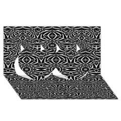 Black and White Tribal Pattern Twin Hearts 3D Greeting Card (8x4)