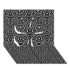 Black and White Tribal Pattern Clover 3D Greeting Card (7x5)
