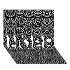 Black and White Tribal Pattern HOPE 3D Greeting Card (7x5)
