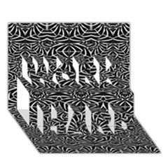 Black and White Tribal Pattern WORK HARD 3D Greeting Card (7x5)