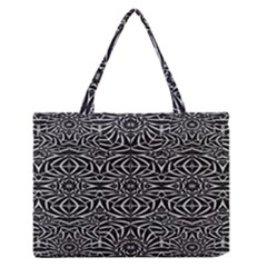Black And White Tribal Pattern Medium Zipper Tote Bag